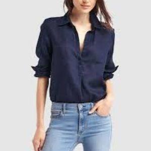 GAP Woman's Linen Navy Blue Shirt Size Small